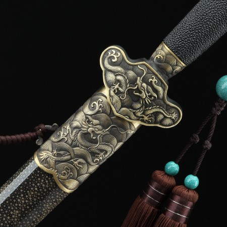 Chinese Dragon Style Real Handmade Chinese Swords with Black Scabbard