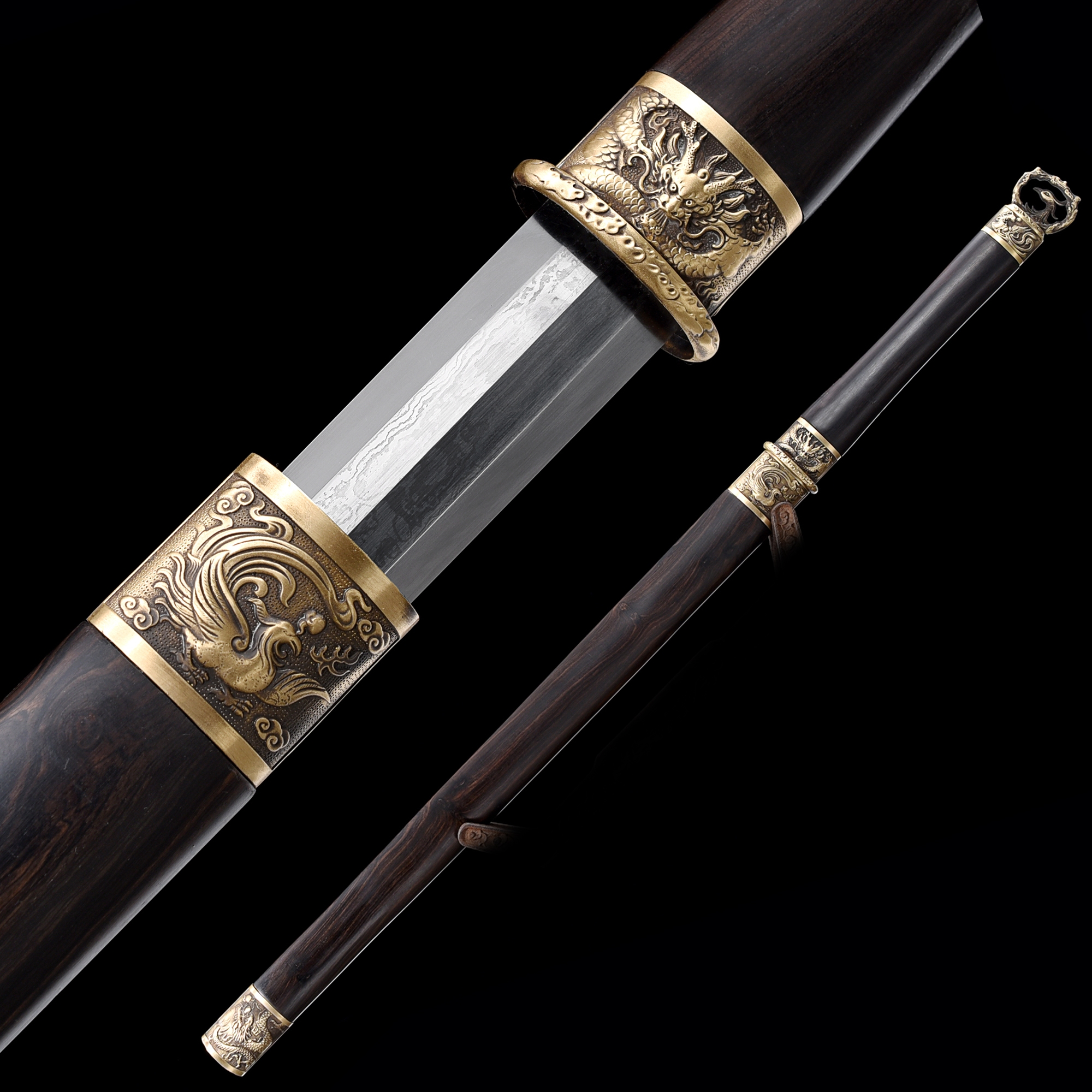 High-performance Pattern Steel Straight Blade Chinese Tang Dynasty Sword With Ebony Scabbard