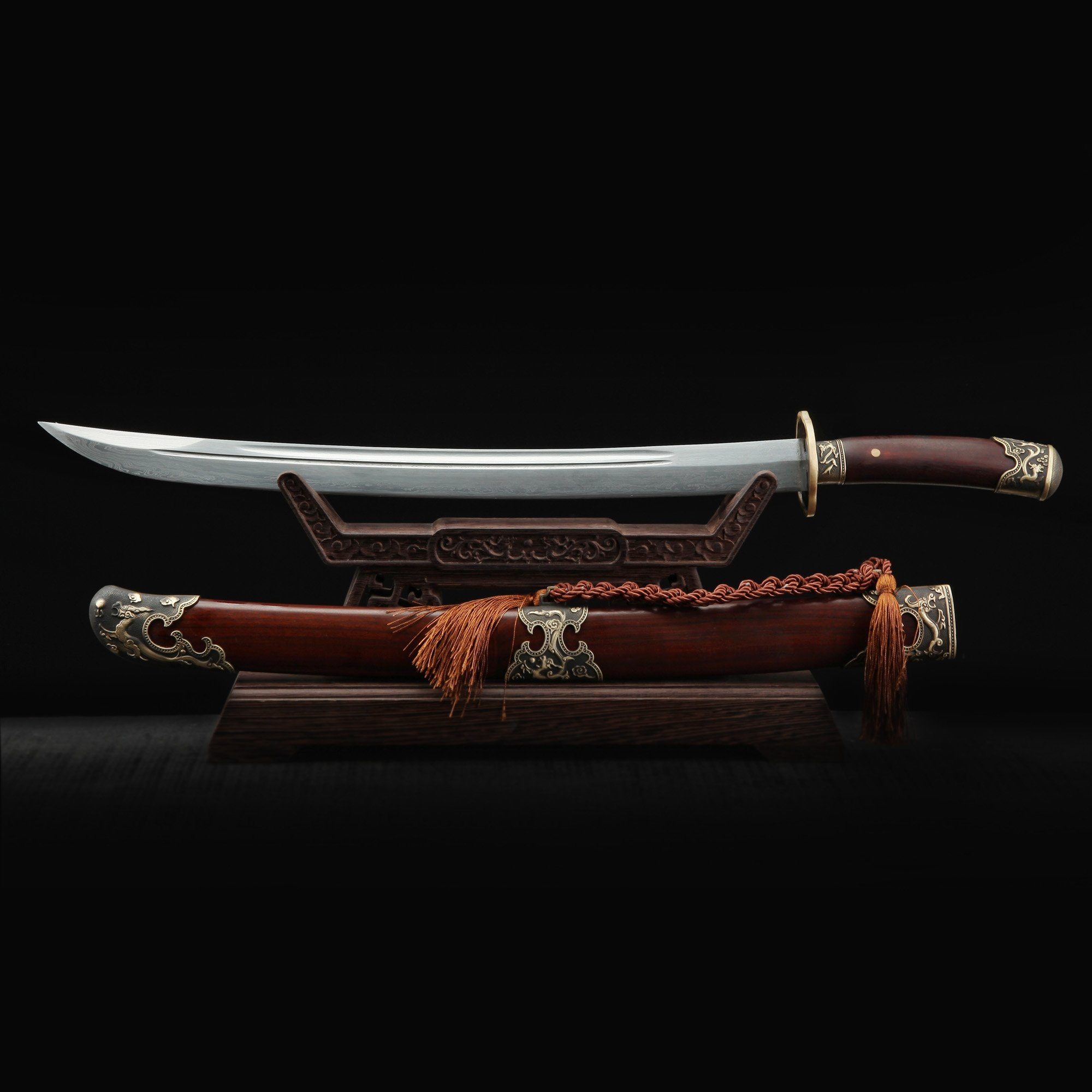 Fully Handmade Pattern Steel Real Chinese Qing Dynasty Sword Qing Dao With Brown Wooden Scabbard