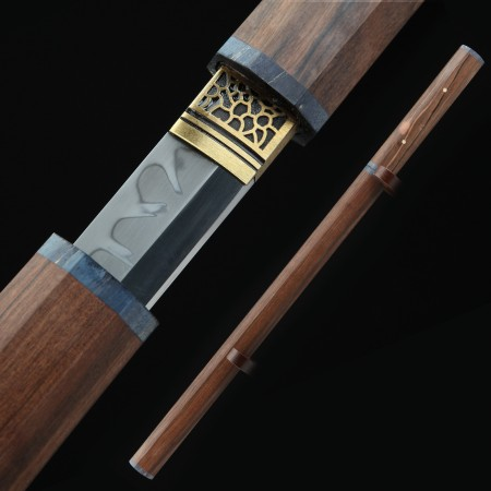 High-performance 1095 Carbon Steel Real Hamon Chinese Tang Dynasty Sword With Handwood Scabbard