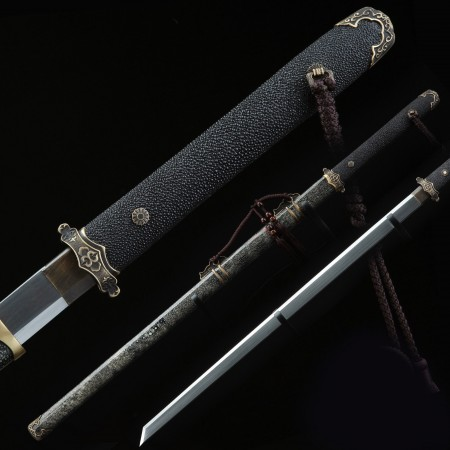 Fully Handmade Real Fish Leather Chinese Tang Straight Sword Tang Dao With Black Wooden Scabbard