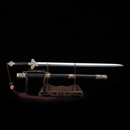 Handmade Blackwood Dragon Theme Damascus Steel Tang Dynasty Chinese King Swords