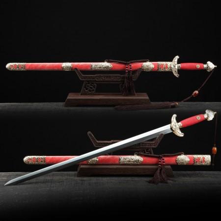 Red Rayskin Theme Handmade Damascus Steel Chinese Qing Dynasty King Swords
