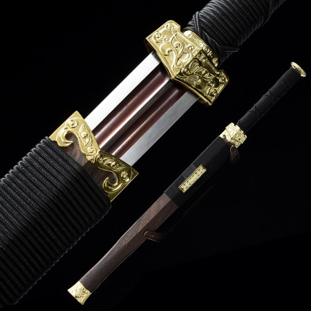 Handmade Pattern Steel Red Blade Chinese Han Dynasty Sword With Rosewood Scabbard