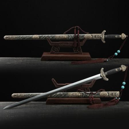 Handmade Damascus Steel Rayskin Full Tang Chinese Qing Dynasty King Swords
