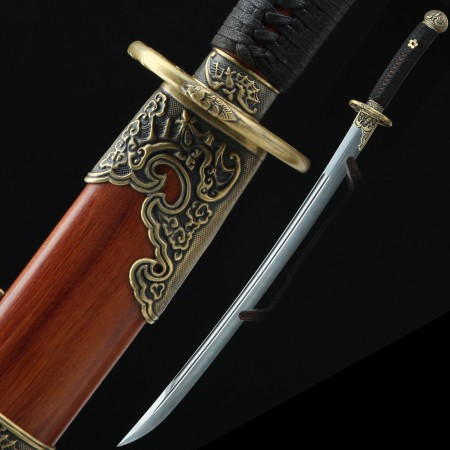 High-performance Pattern Steel Real Hamon Chinese Broadsword With Rosewood Scabbard