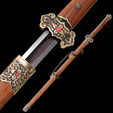 High-performance 1000 Layer Folded Steel Red Blade Chinese Tang Dynasty Sword With Rosewood Scabbard