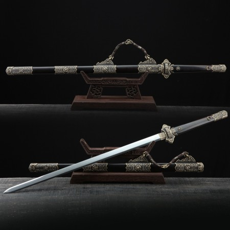 Black Peony Flower Theme Handmade Damascus Steel Tang Dynasty Chinese Swords