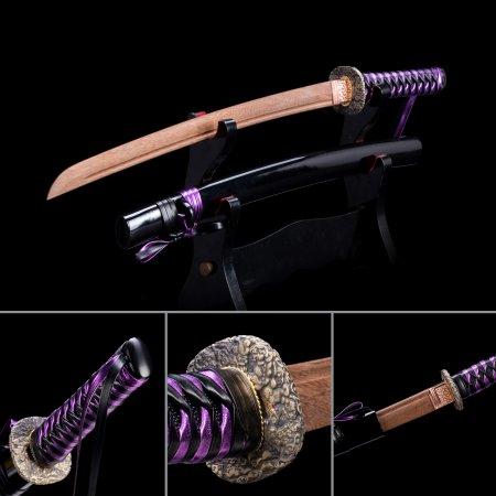 Handmade Wooden Bokken Practice Wakizashi Sword With Black Scabbard