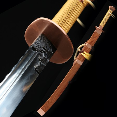 High-performance 1000 Layer Folded Steel Sharpening Chinese Broadsword With Rosewood Scabbard