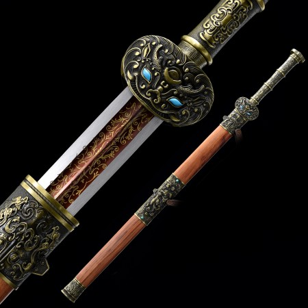 High-performance Spring Steel Red Blade Chinese Han Dynasty Sword With Rosewood Scabbard