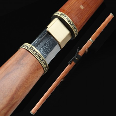 High-performance Pattern Steel Real Chinese Tang Dynasty Sword With Rosewood Scabbard