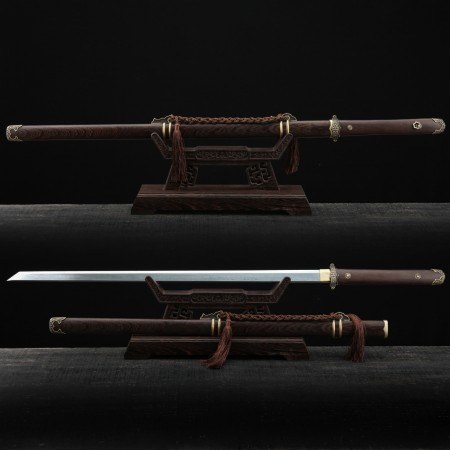 Classic Chinese Tang Dynasty Damascus Steel Full Tang Straight Chinese Swords