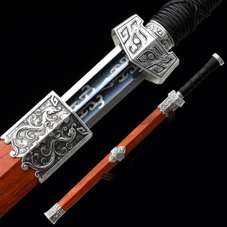 Handmade High Manganese Steel Blue Blade Chinese Han Dynasty Sword With Rosewood Scabbard