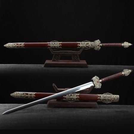 Handmade Rosewood Damascus Steel Full Tang Chinese Sword Name Of Feng Shen