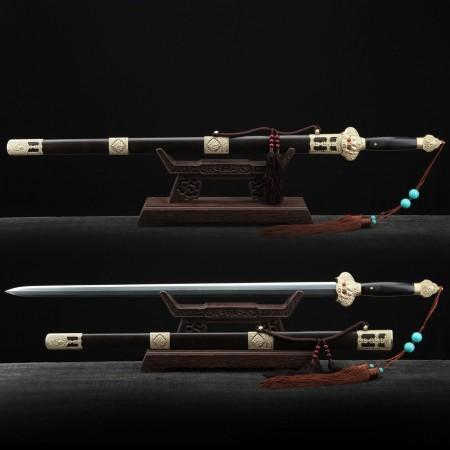 Handmade Black Sandalwood  Damascus Steel Chinese Ming Dynasty King Swords