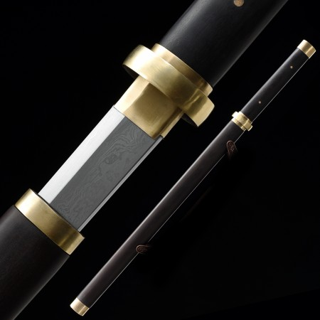 Handmande Pattern Steel Chinese Tang Dynasty Sword With Ebony Scabbard