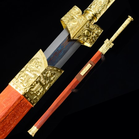 Handmade Pattern Steel Blue Blade Chinese Han Dynasty Sword With Rosewood Scabbard