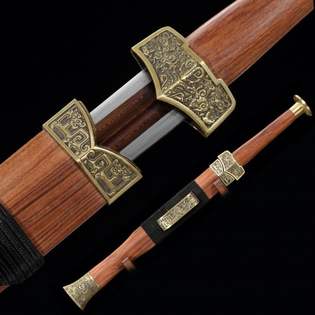 High-performance Pattern Steel Red Blade Chinese Han Dynasty Sword With Rosewood Scabbard