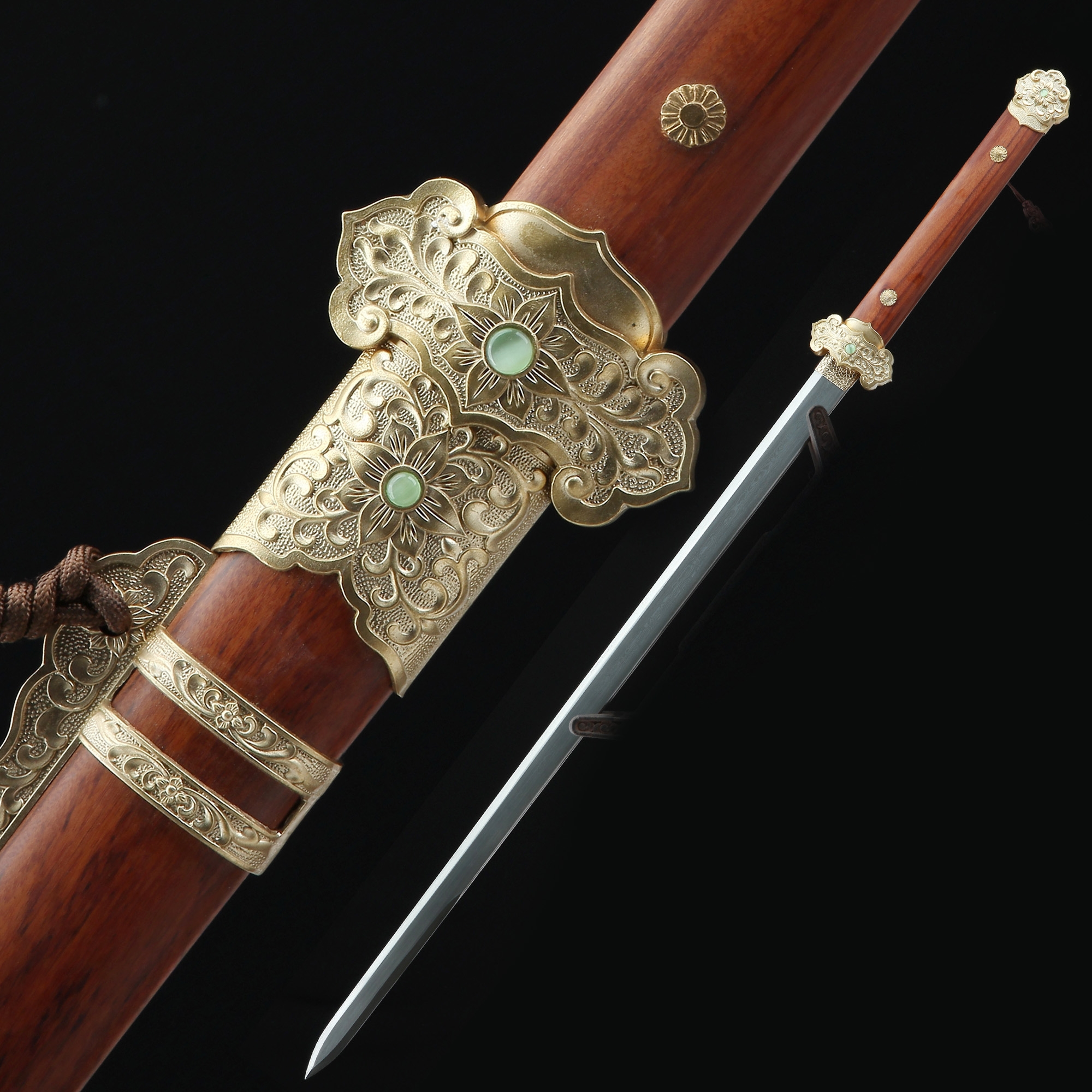 High-performance Pattern Steel Straight Blade Chinese Tang Dynasty Sword With Rosewood Scabbard