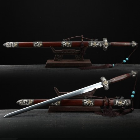 Handmade Red Rosewood Silver Chinese Dragon Theme Damascus Steel Chinese Swords